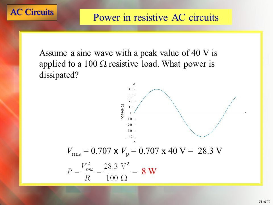 AC Circuits 38 of 77 Assume a sine wave with a peak value of 40 V is applied to a 100  resistive load. What power is dissipated? Power in resistive A