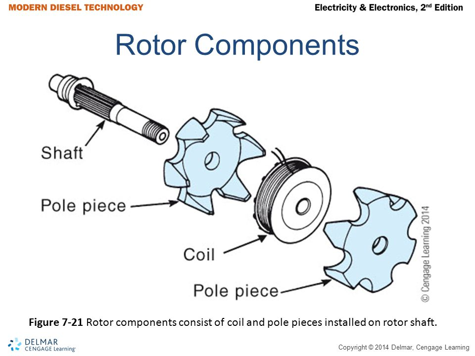 Copyright © 2014 Delmar, Cengage Learning Rotor Components Figure 7-21 Rotor components consist of coil and pole pieces installed on rotor shaft.