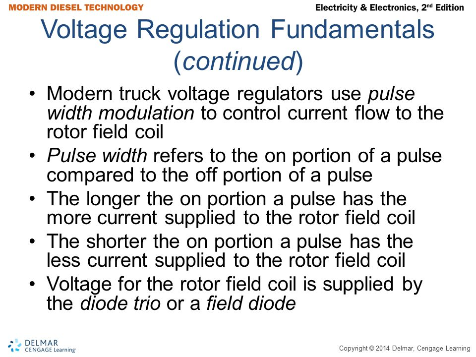 Copyright © 2014 Delmar, Cengage Learning Voltage Regulation Fundamentals (continued) Modern truck voltage regulators use pulse width modulation to co