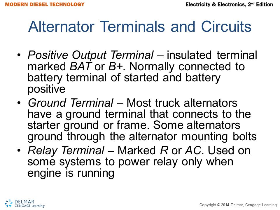 Copyright © 2014 Delmar, Cengage Learning Alternator Terminals and Circuits Positive Output Terminal – insulated terminal marked BAT or B+. Normally c