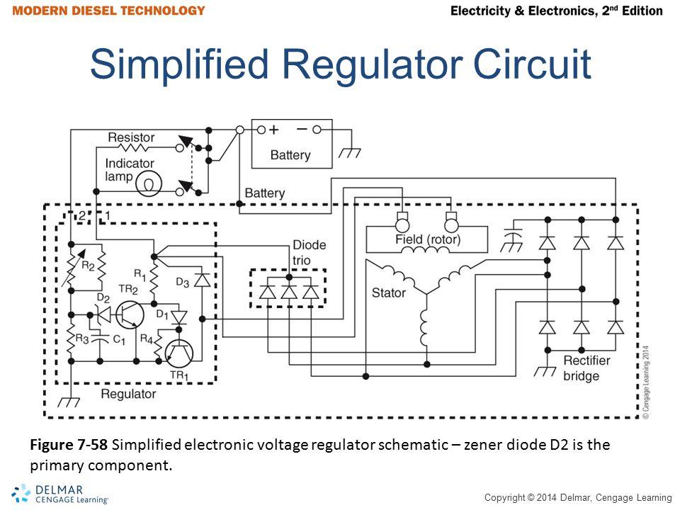 Copyright © 2014 Delmar, Cengage Learning Simplified Regulator Circuit Figure 7-58 Simplified electronic voltage regulator schematic – zener diode D2