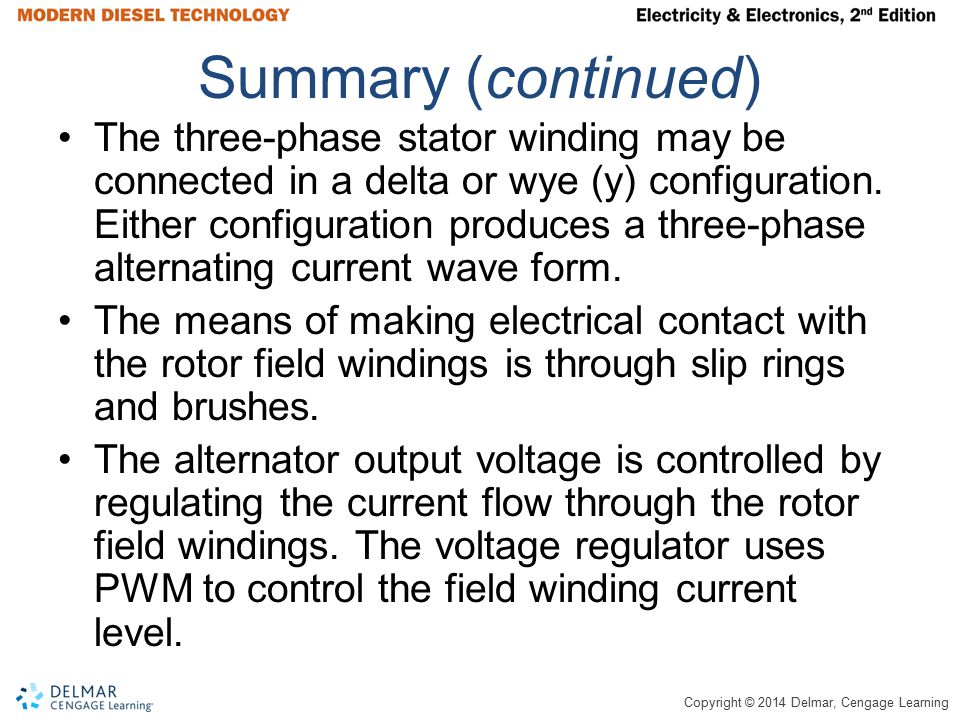 Copyright © 2014 Delmar, Cengage Learning Summary (continued) The three-phase stator winding may be connected in a delta or wye (y) configuration. Eit