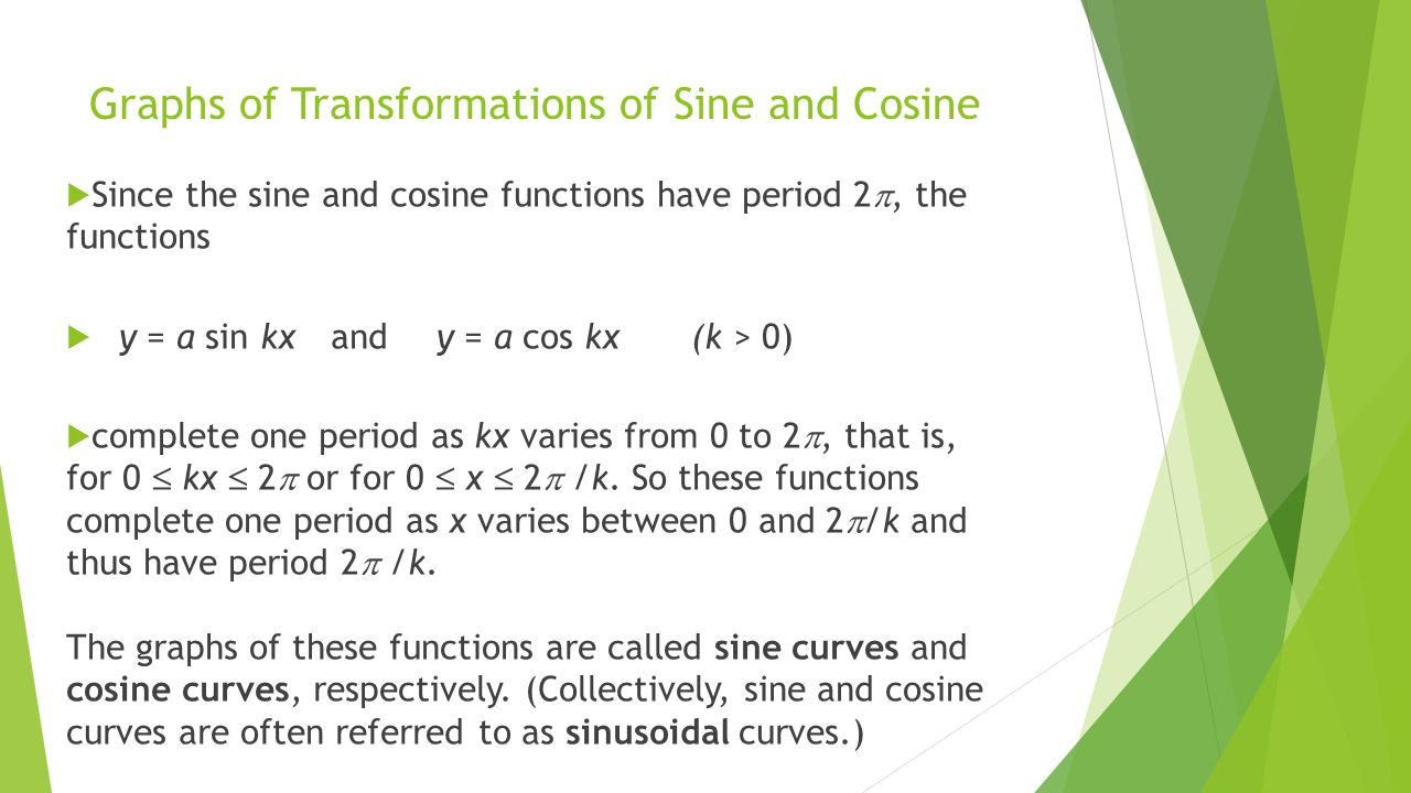 Graphs of Transformations of Sine and Cosine  Since the sine and cosine functions have period 2 , the functions  y = a sin kx and y = a cos kx (k >