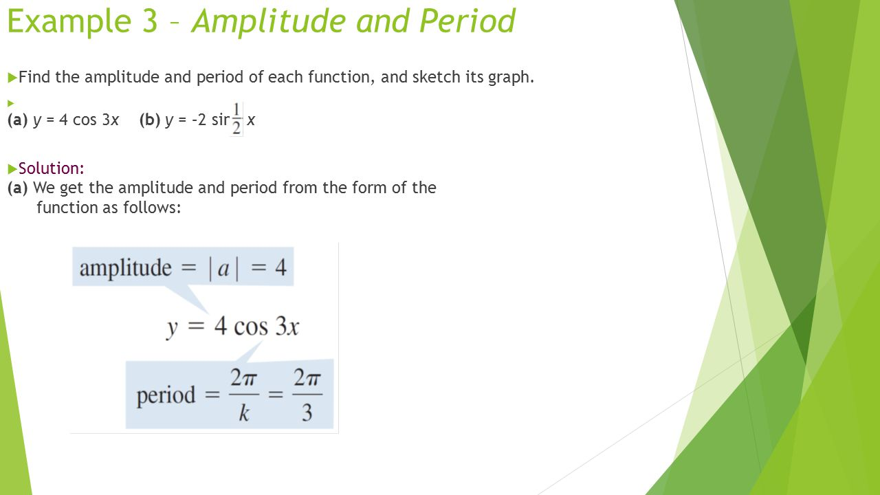 Example 3 – Amplitude and Period  Find the amplitude and period of each function, and sketch its graph.  (a) y = 4 cos 3x (b) y = –2 sin x  Solutio