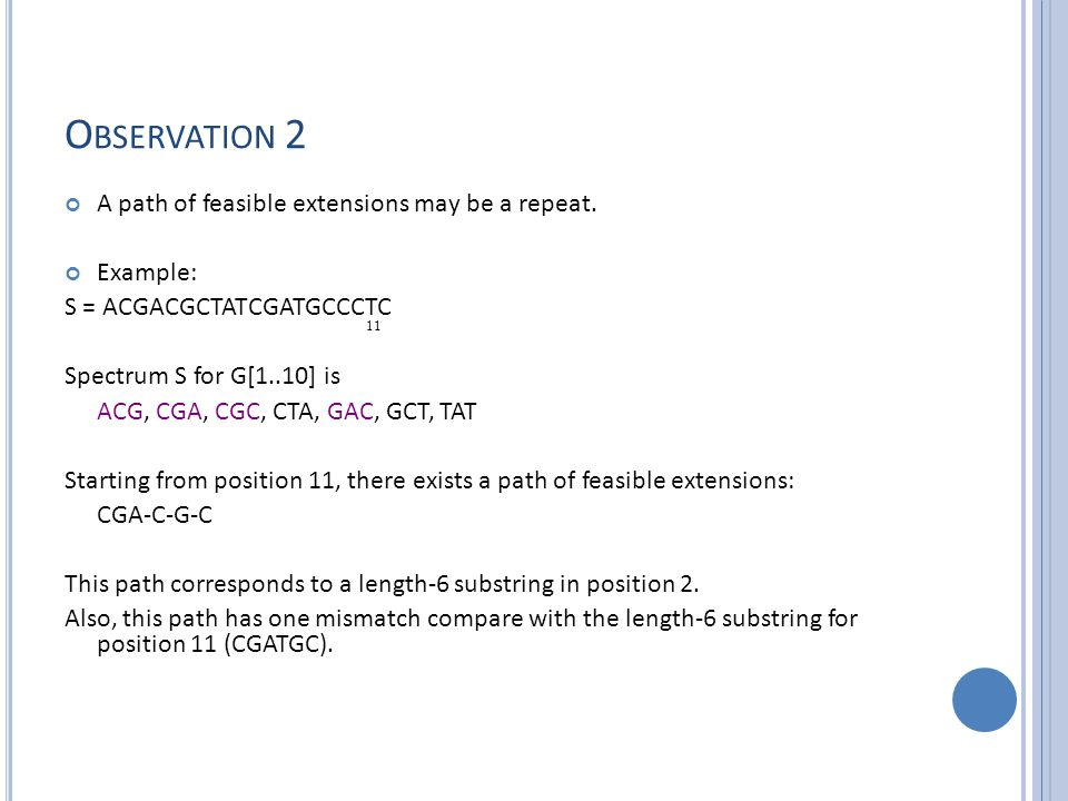 O BSERVATION 2 A path of feasible extensions may be a repeat.