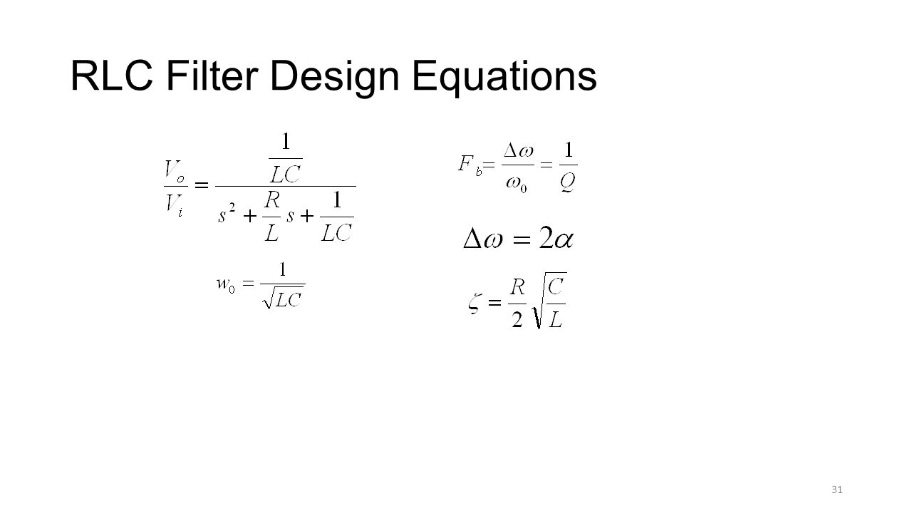 RLC Filter Design Equations 31