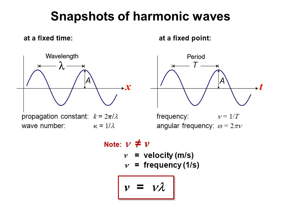 Snapshots of harmonic waves T A at a fixed time:at a fixed point: A frequency: = 1/T angular frequency:  = 2  propagation constant: k = 2  / wave n