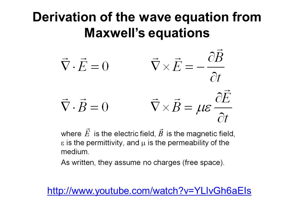 http://www.youtube.com/watch?v=YLlvGh6aEIs Derivation of the wave equation from Maxwell's equations