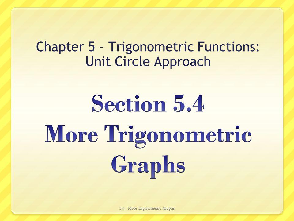 Chapter 5 – Trigonometric Functions: Unit Circle Approach 5.4 - More Trigonometric Graphs