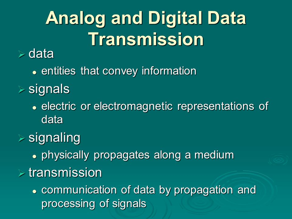 Analog and Digital Data Transmission  data entities that convey information entities that convey information  signals electric or electromagnetic re