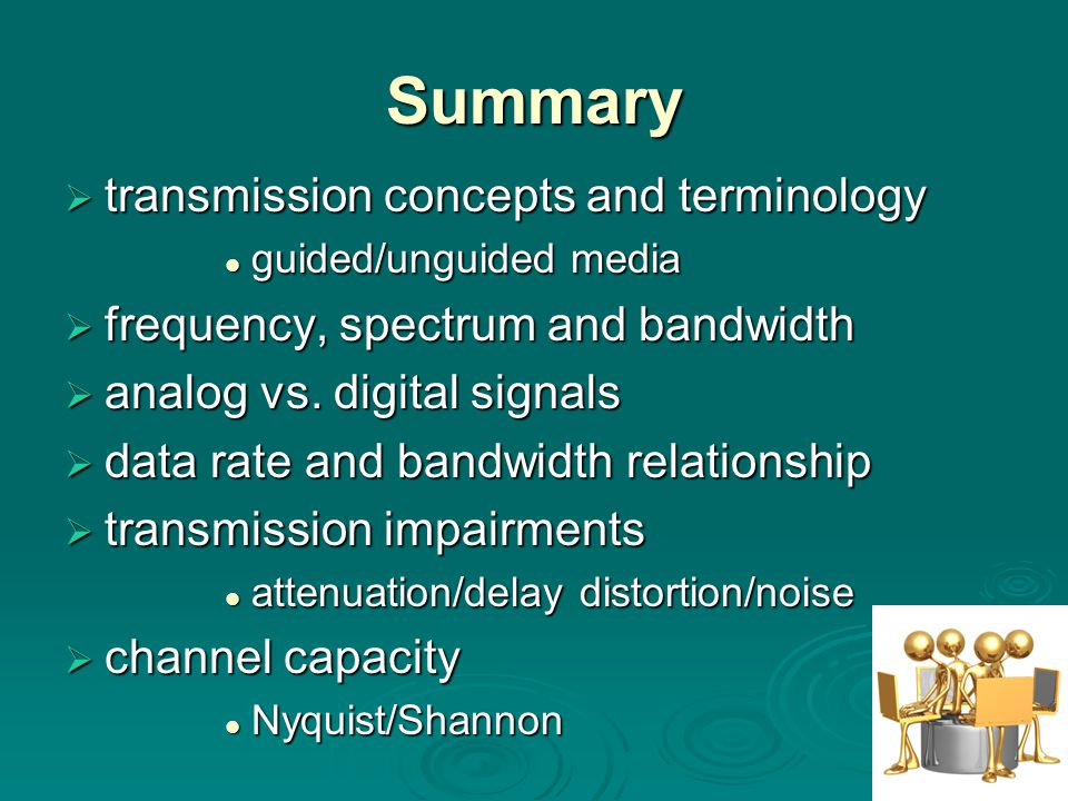 Summary  transmission concepts and terminology guided/unguided media guided/unguided media  frequency, spectrum and bandwidth  analog vs.