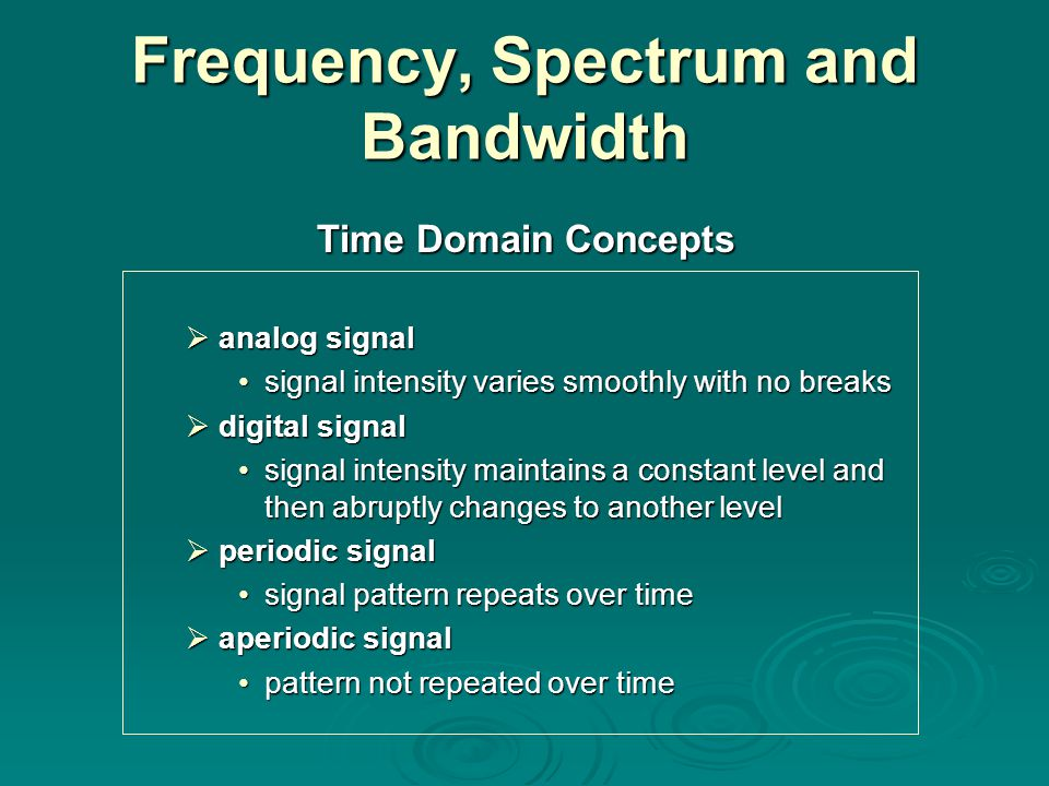 Data Rate and Bandwidth any transmission system has a limited band of frequencies this limits the data rate that can be carried on the transmission medium square waves have infinite components and hence an infinite bandwidth most energy in first few components limiting bandwidth creates distortions There is a direct relationship between data rate and bandwidth.