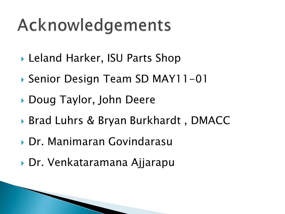  Leland Harker, ISU Parts Shop  Senior Design Team SD MAY11-01  Doug Taylor, John Deere  Brad Luhrs & Bryan Burkhardt, DMACC  Dr.