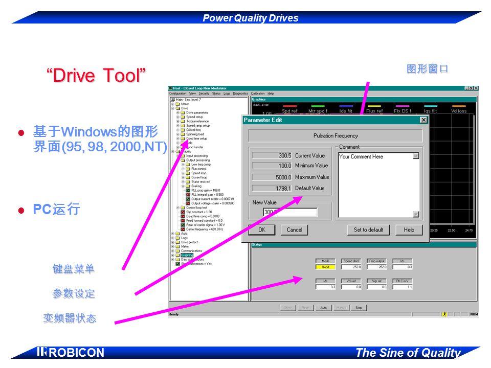 "Power Quality Drives ROBICON The Sine of Quality ""Drive Tool"" 基于 Windows 的图形 界面 (95, 98, 2000,NT) 参数设定 图形窗口 变频器状态 PC 运行 键盘菜单"