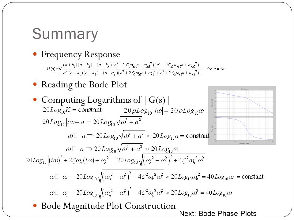 Summary Frequency Response Reading the Bode Plot Computing Logarithms of |G(s)| Bode Magnitude Plot Construction Next: Bode Phase Plots