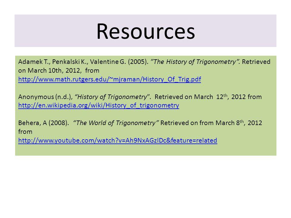 Resources Adamek T., Penkalski K., Valentine G. (2005).
