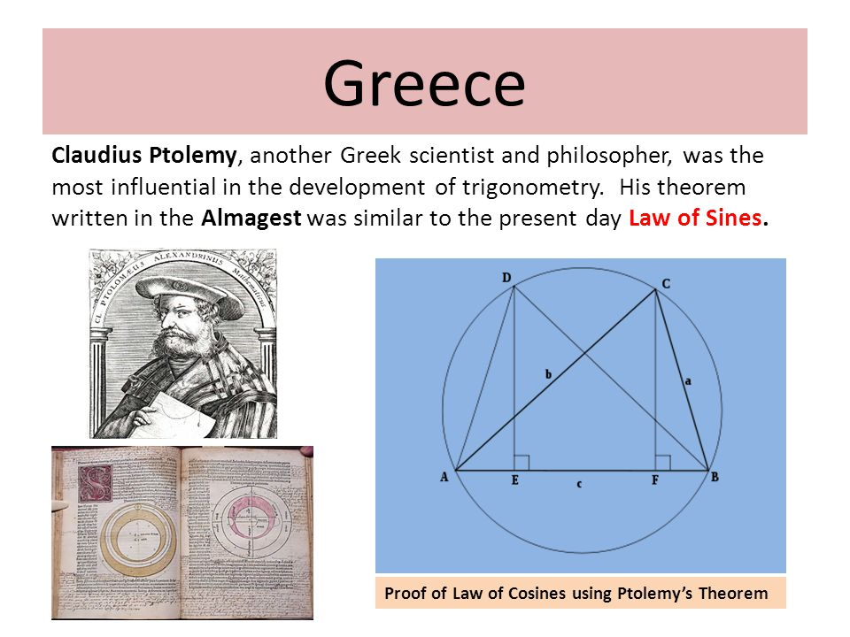 Claudius Ptolemy, another Greek scientist and philosopher, was the most influential in the development of trigonometry.