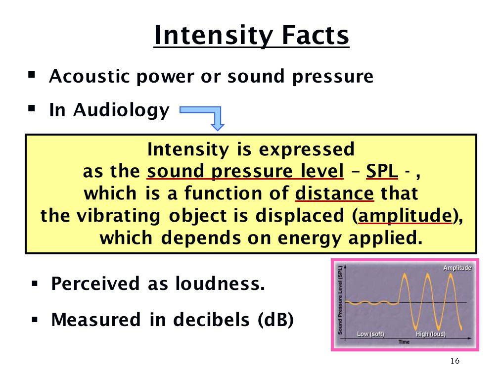 Human Frequency Range  Frequency range for humans is 20 - 20,000 Hz  Most adults hear maximum of 12,000 Hz  Doubling frequency increases pitch one octave  Octaves define audiometric test frequencies 500, 1000, 2000, (3000)*, 4000, (6000)* Hz  Critical frequencies to understand speech between 500-4000 Hz *inter-octave frequency 15