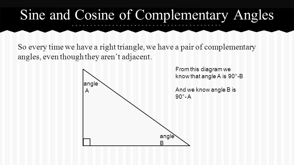 So every time we have a right triangle, we have a pair of complementary angles, even though they aren't adjacent.