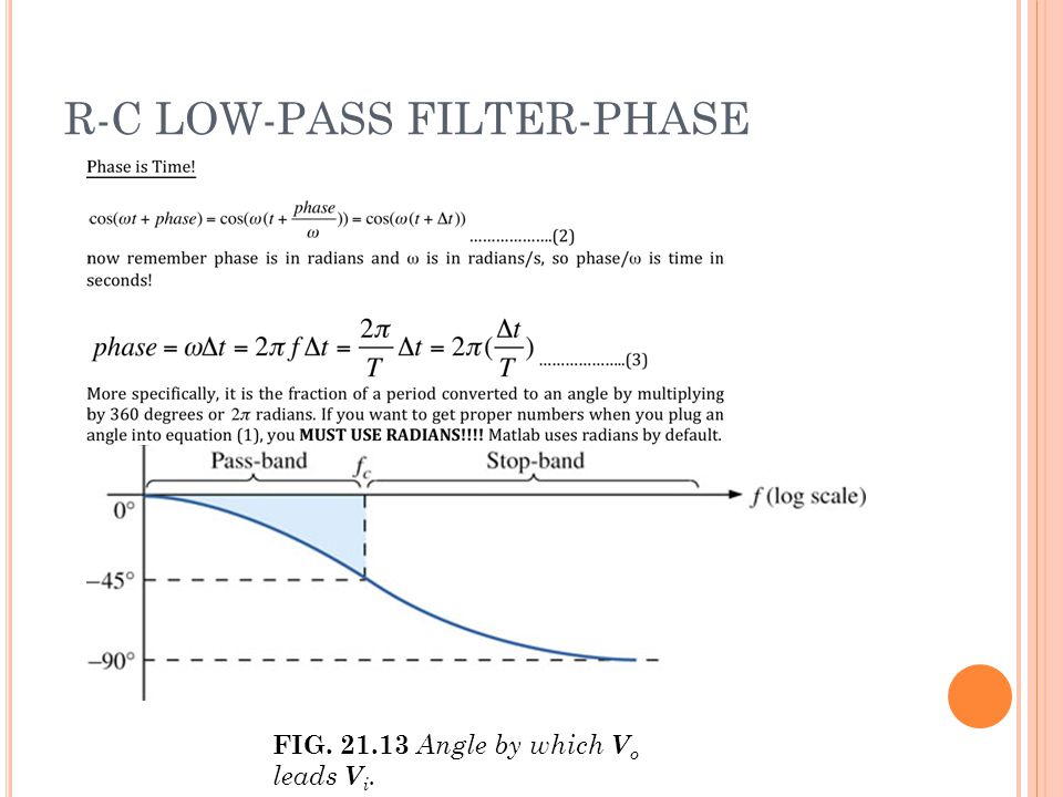 R-C LOW-PASS FILTER-PHASE FIG. 21.13 Angle by which V o leads V i.