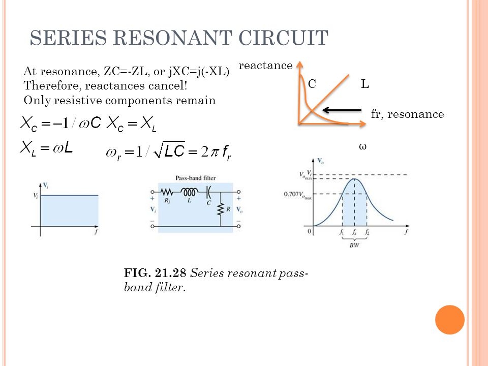 SERIES RESONANT CIRCUIT At resonance, ZC=-ZL, or jXC=j(-XL) Therefore, reactances cancel.