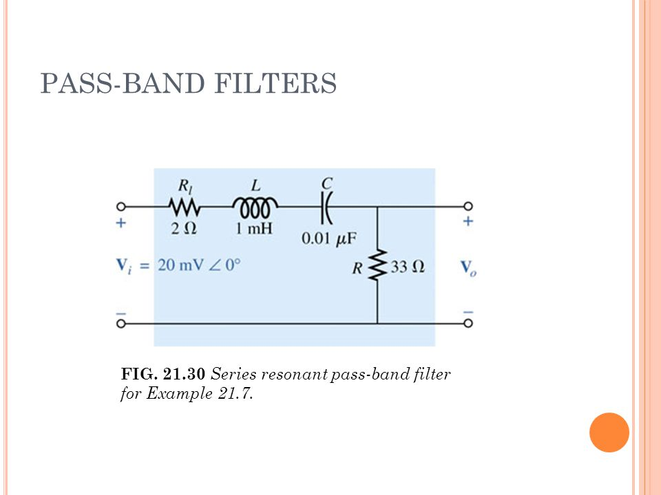 PASS-BAND FILTERS FIG. 21.30 Series resonant pass-band filter for Example 21.7.