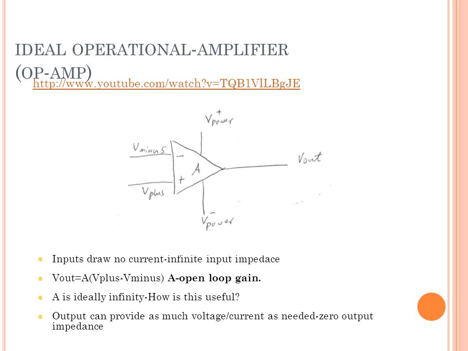 IDEAL OPERATIONAL - AMPLIFIER ( OP - AMP ) Inputs draw no current-infinite input impedace Vout=A(Vplus-Vminus) A-open loop gain.