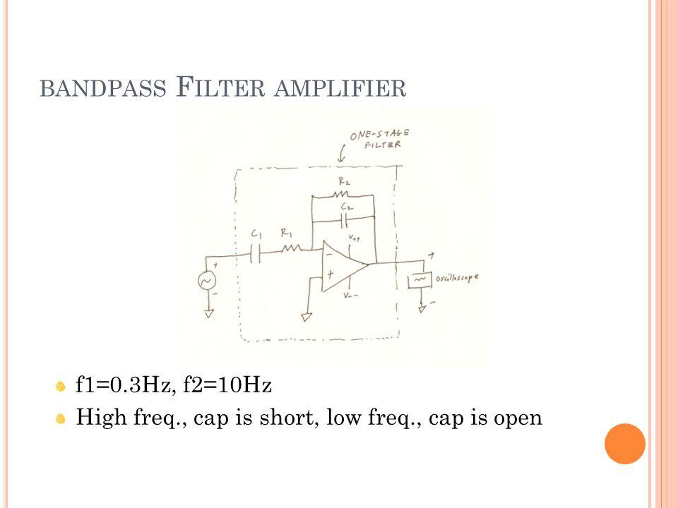 BANDPASS F ILTER AMPLIFIER f1=0.3Hz, f2=10Hz High freq., cap is short, low freq., cap is open