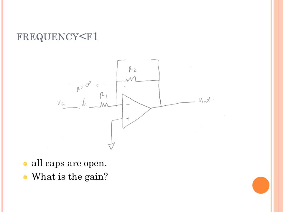 FREQUENCY < F 1 all caps are open. What is the gain?
