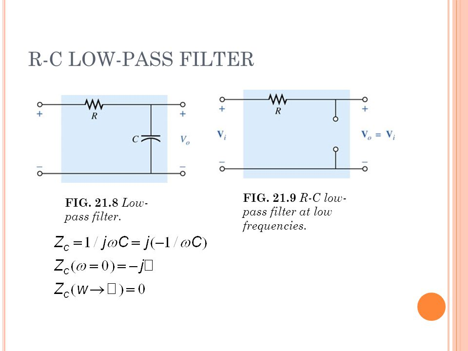 R-C LOW-PASS FILTER FIG. 21.8 Low- pass filter. FIG. 21.9 R-C low- pass filter at low frequencies.