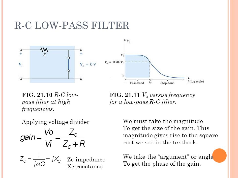 R-C LOW-PASS FILTER FIG. 21.10 R-C low- pass filter at high frequencies.