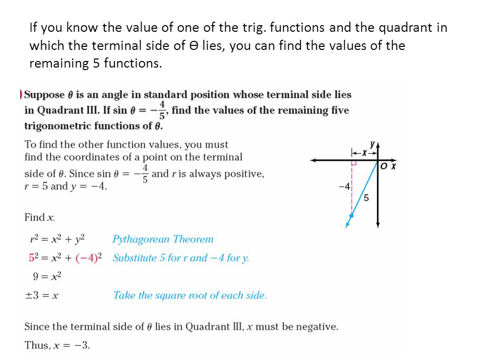 If you know the value of one of the trig. functions and the quadrant in which the terminal side of Ѳ lies, you can find the values of the remaining 5