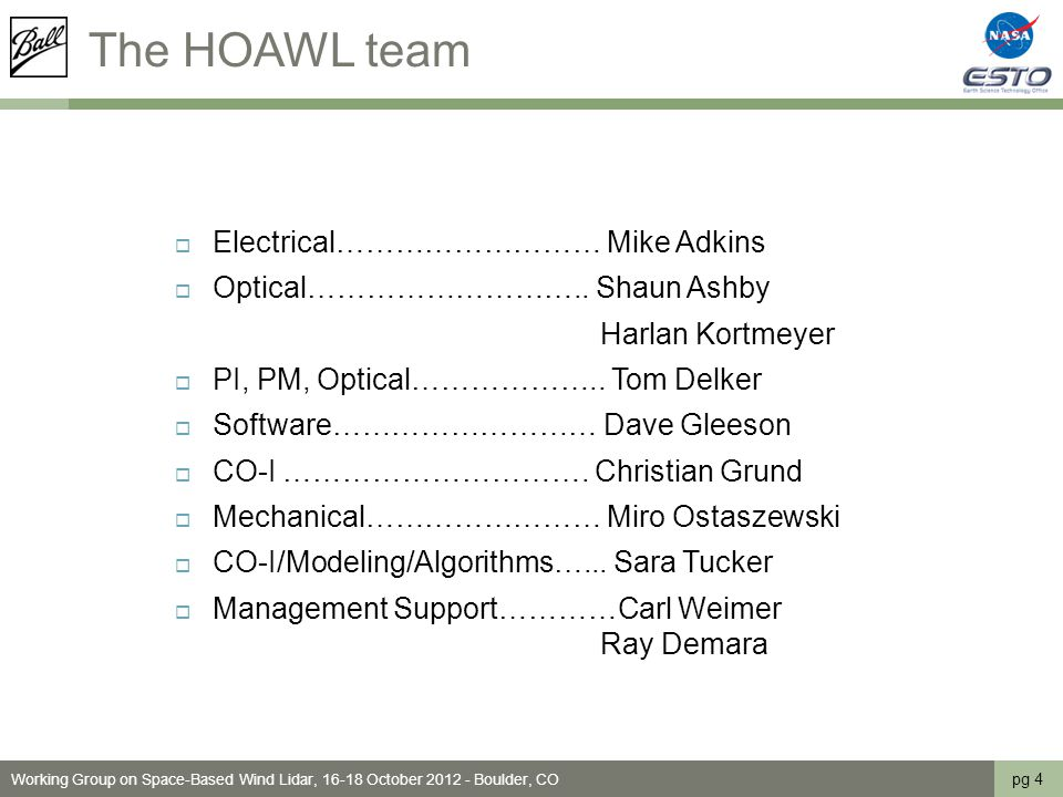 The HOAWL team  Electrical……………………… Mike Adkins  Optical………………………..
