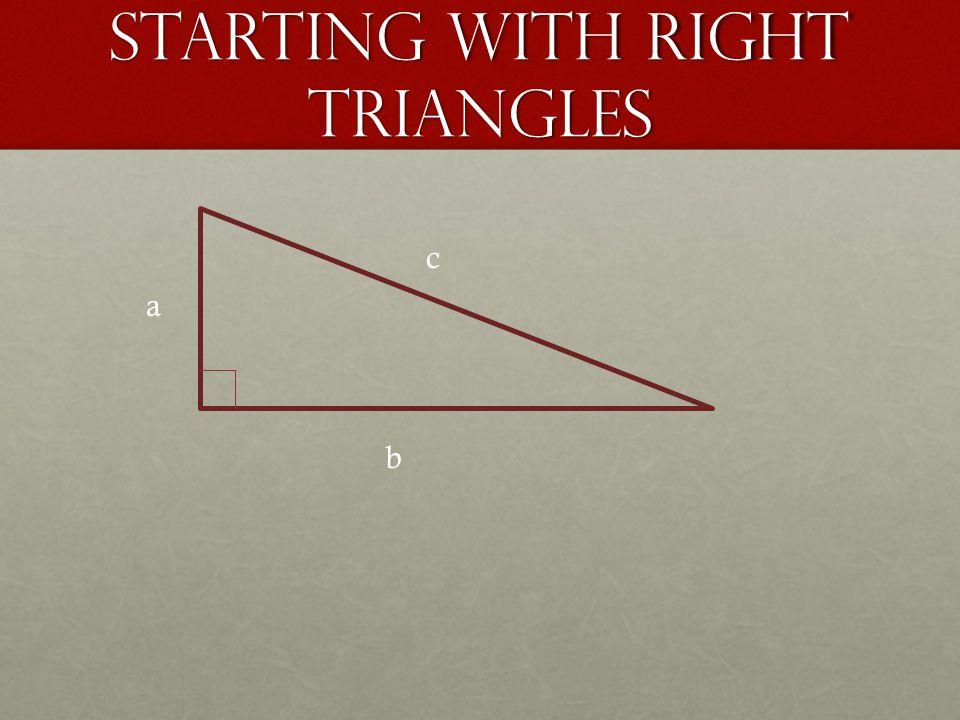 Starting With Right Triangles a b c