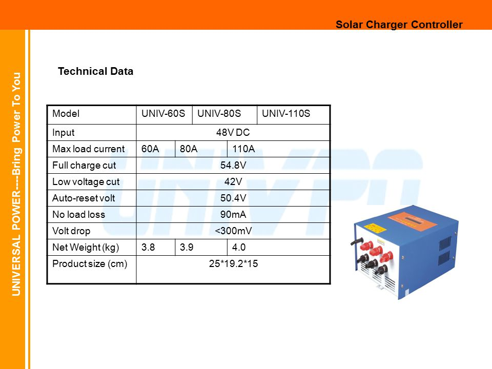 UNIVERSAL POWER----Bring Power To You Solar Charger Controller ModelUNIV-60SUNIV-80SUNIV-110S Input48V DC Max load current60A80A110A Full charge cut54.8V Low voltage cut42V Auto-reset volt50.4V No load loss90mA Volt drop<300mV Net Weight (kg)3.83.94.0 Product size (cm)25*19.2*15 Technical Data