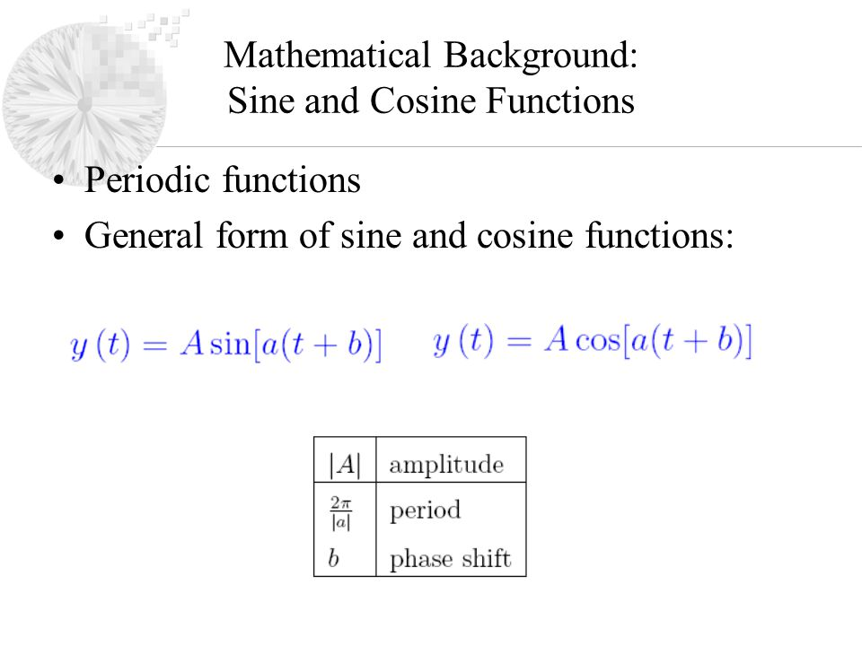 Mathematical Background: Sine and Cosine Functions Periodic functions General form of sine and cosine functions: