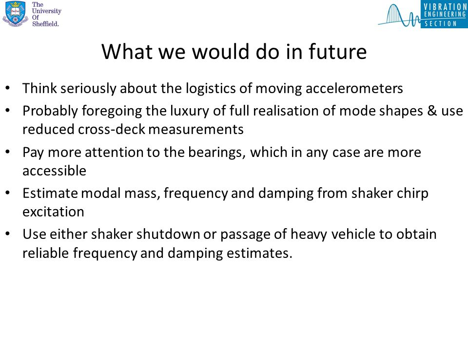 What we would do in future Think seriously about the logistics of moving accelerometers Probably foregoing the luxury of full realisation of mode shap