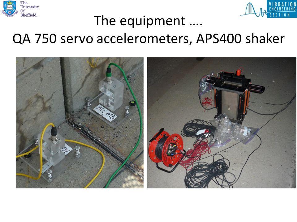 The equipment …. QA 750 servo accelerometers, APS400 shaker