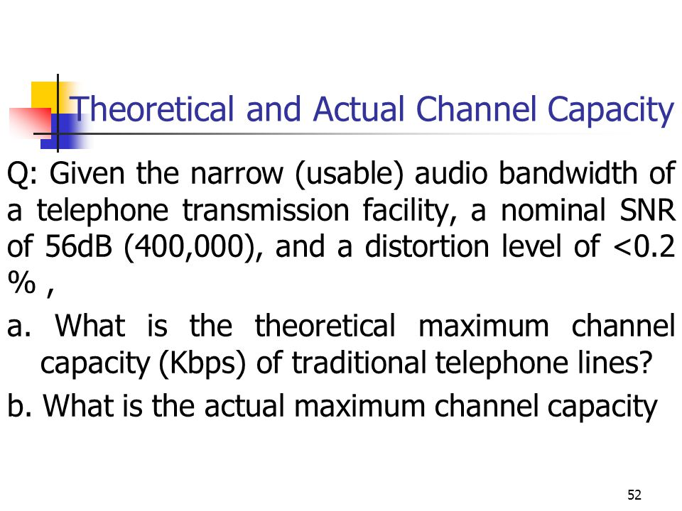 Theoretical and Actual Channel Capacity Q: Given the narrow (usable) audio bandwidth of a telephone transmission facility, a nominal SNR of 56dB (400,