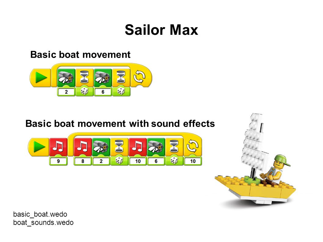 Sailor Max Basic boat movement Basic boat movement with sound effects basic_boat.wedo boat_sounds.wedo