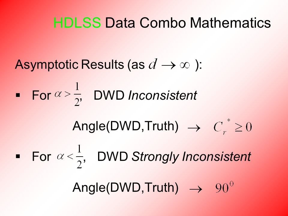 HDLSS Data Combo Mathematics Asymptotic Results (as ):  For, DWD Inconsistent Angle(DWD,Truth)  For, DWD Strongly Inconsistent Angle(DWD,Truth)