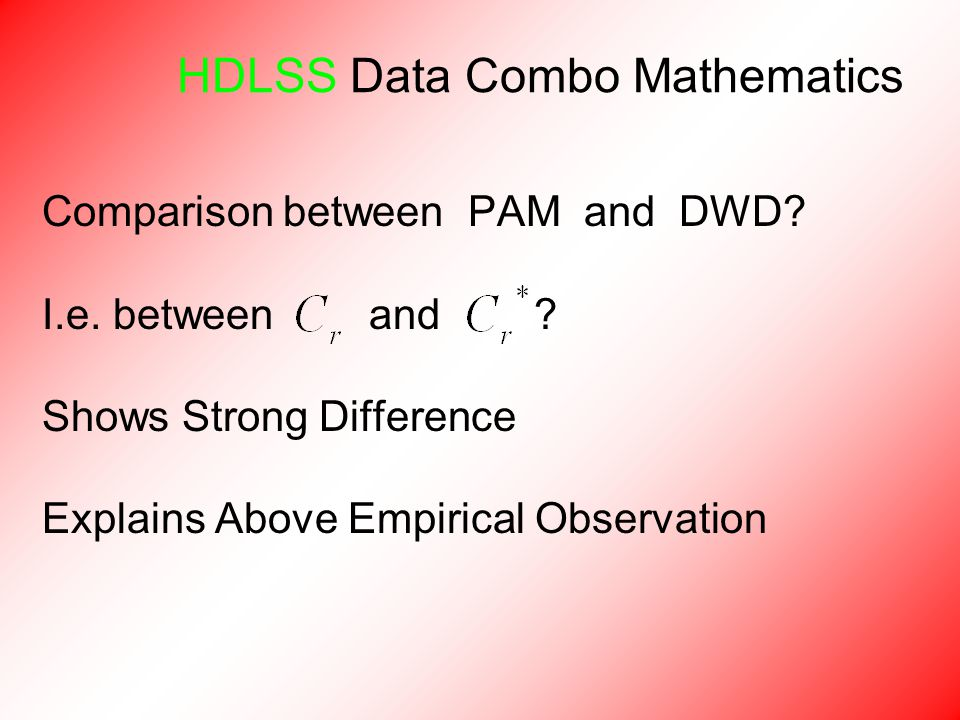HDLSS Data Combo Mathematics Comparison between PAM and DWD.