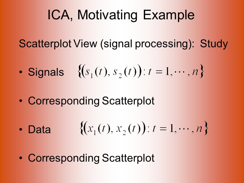 ICA, Motivating Example Scatterplot View (signal processing): Study Signals Corresponding Scatterplot Data Corresponding Scatterplot