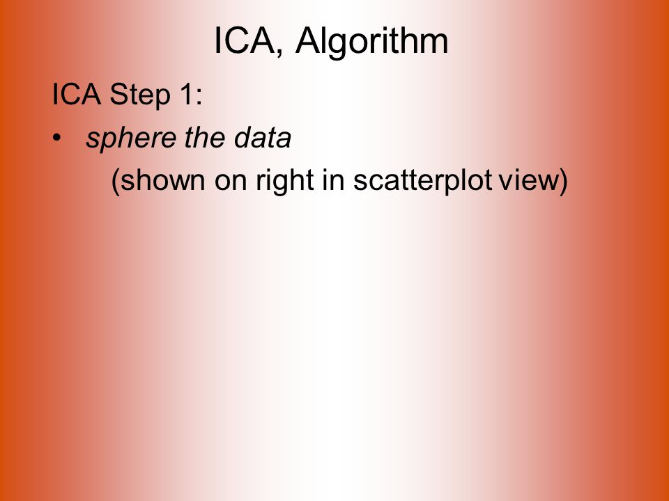 ICA, Algorithm ICA Step 1: sphere the data (shown on right in scatterplot view)