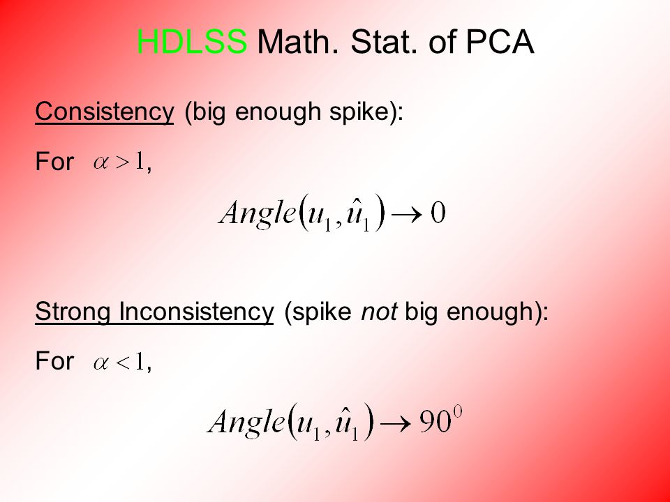 Consistency (big enough spike): For, Strong Inconsistency (spike not big enough): For, HDLSS Math.