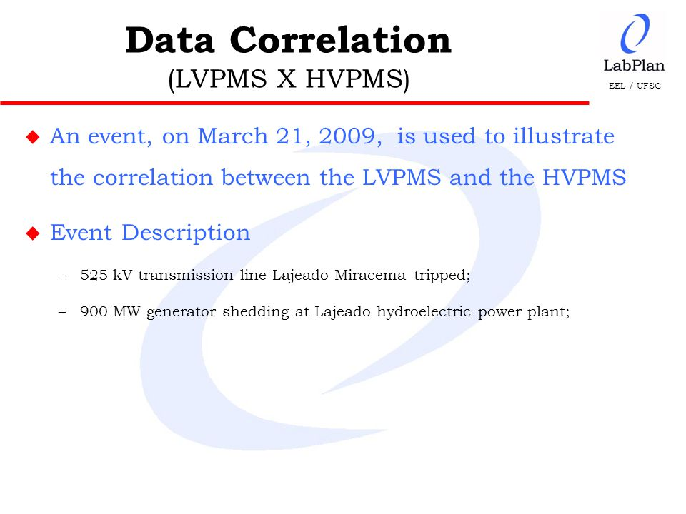 EEL / UFSC u An event, on March 21, 2009, is used to illustrate the correlation between the LVPMS and the HVPMS u Event Description –525 kV transmission line Lajeado-Miracema tripped; –900 MW generator shedding at Lajeado hydroelectric power plant; Data Correlation (LVPMS X HVPMS)