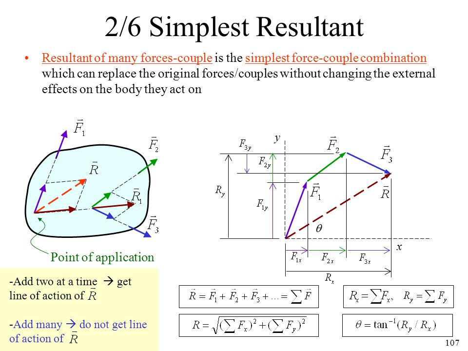 107 Resultant of many forces-couple is the simplest force-couple combination which can replace the original forces/couples without changing the extern