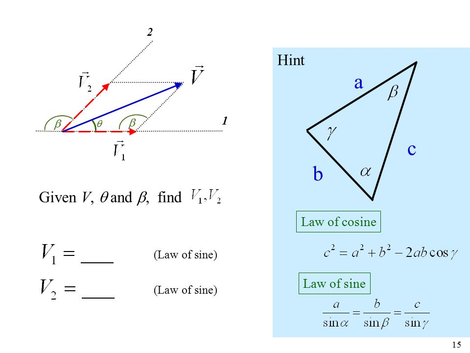 1 2   15 (Law of sine) Given V,  and , find a b c Law of cosine Law of sine Hint 