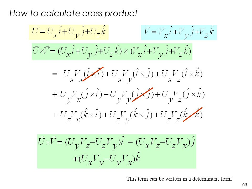 63 This term can be written in a determinant form How to calculate cross product