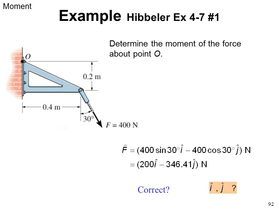92 Example Hibbeler Ex 4-7 #1 Determine the moment of the force about point O. Moment Correct?